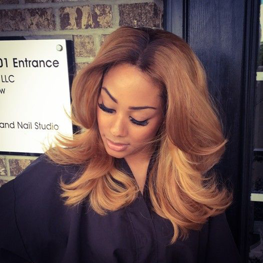 Dark root Ombre Human hair Wig Blonde full lace wig glueless&lace front human hair wig two tone for black woman ombe wig(China (Mainland))