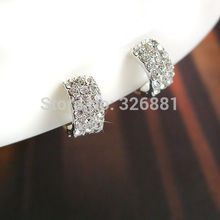 Elegant ear clip no pierced clip on earrings for women with 3 rows of Rhinestone,clip earrings without piercing brincos(China (Mainland))