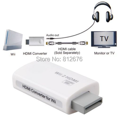 1080p HDMI  To TV Monitor Converter Adapter With 3.5mm Headphone Jack For Wii 2(China (Mainland))