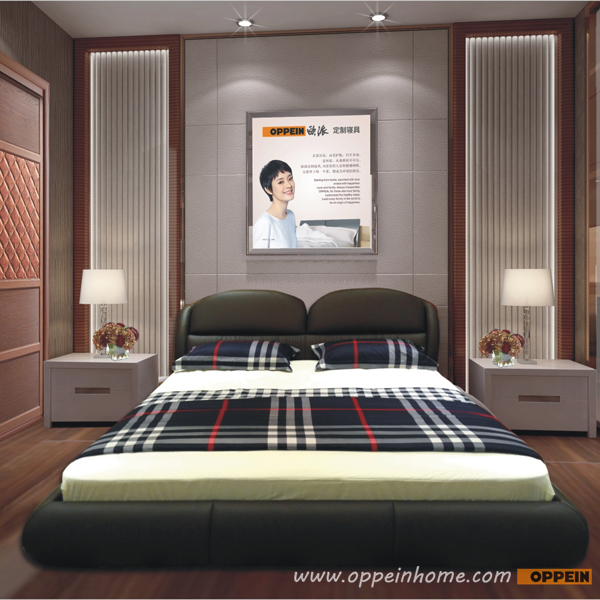 OPPEIN Hot Sell Cherry Wood Bed / soft bed/double bed king/queen size bedroom home furniture hot sale style OP-SH679(China (Mainland))