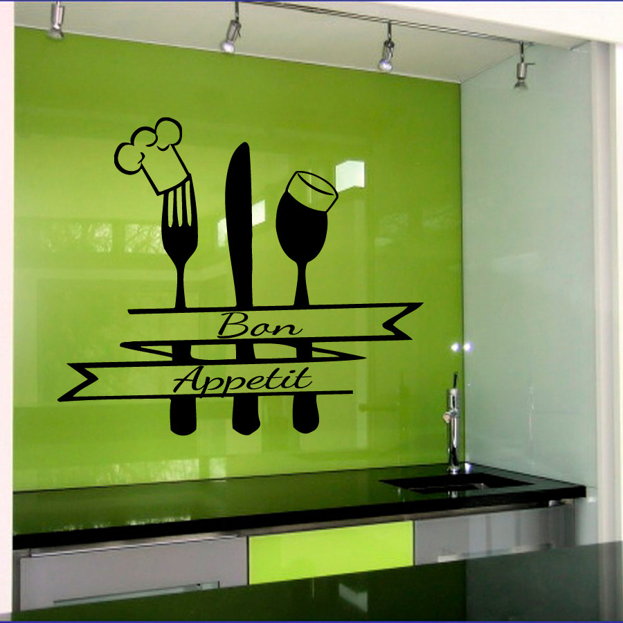 new design French Bon Appetit Quote Wall Sticker Kitchen
