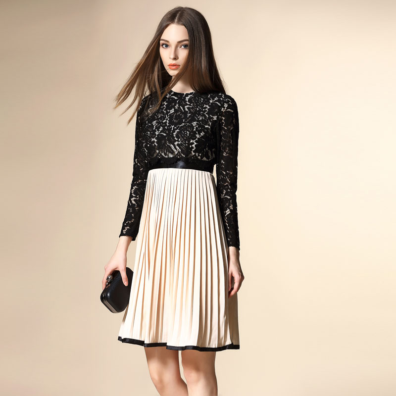 Womens Boutique 2016 Spring Models Lace Skirt Leave Two Long-Sleeved Chiffon Shirt Dress WholesaleОдежда и ак�е��уары<br><br><br>Aliexpress