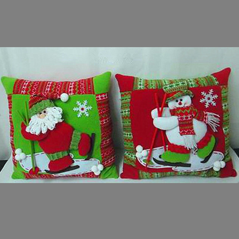 Santa Pillow 2015 Home Decor Throw Pillow Case Cushion Cover Santa Claus Christmas Size 34*34cm Cotton Santa Pillow