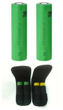 Free shipping 2pcs US18650VTC4 2100mah 30A 18650 battery flat top with 1pc free battery pouch