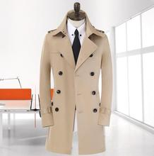 Khaki black beige black double breasted mens trench coats man long coat men clothes slim fit cotton overcoat men plus size 9XL(China (Mainland))