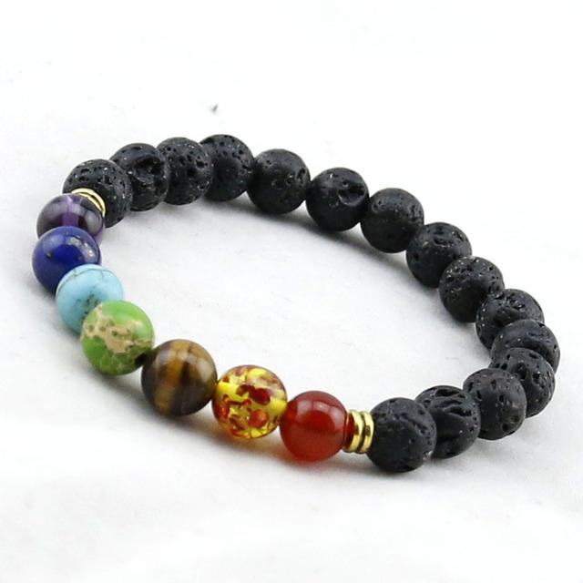 Мути-градусный цветовой дизайн мужские браслеты черной лавы 7 чакра исцеление баланс ...