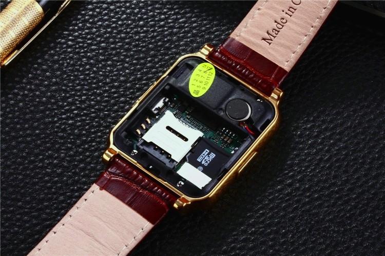 ถูก W90บลูทูธสมาร์ทดูS Mart W Atchผู้ชายหรูหราหนังธุรกิจนาฬิกาข้อมืออัศวินมุมมองแบบเต็มHDหน้าจอสำหรับA Ndroid IOSโทรศัพท์