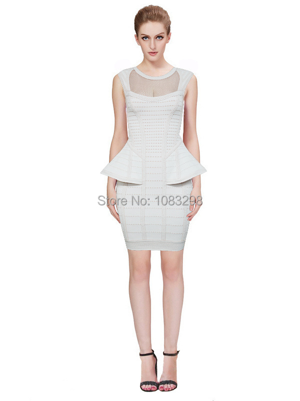 Free Shipping 2015 HL New Arrival  High Quality HL Rayon Bandage Dress Summer Ruffles Bodycon Bandage Dress H759