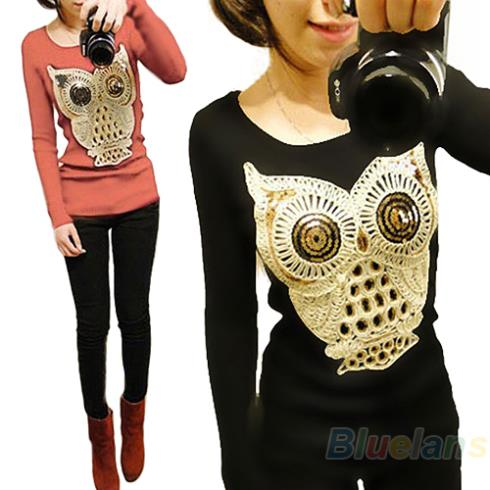 2013 New Fashion Women Long Sleeve Chic Sequins the owl Animal Print Knitwear Sweater Pullover Jumper 1HM3(China (Mainland))