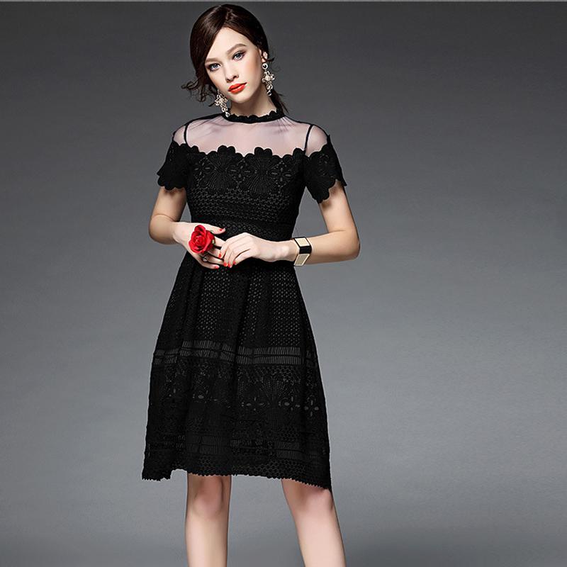 New Summer Women Gauze Patchwork Embroidery Lace Dress Brand Fashion Runway Designer Dresses 2016 Plus Size Black Party DressОдежда и ак�е��уары<br><br><br>Aliexpress