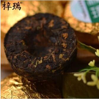 50g Mini Puer Tea Big Leaves Sun Dried Cooked Tea Pu'er Osmanthus Flavor Top Energy Drinks Puerh Tea Sobering Up Tea(China (Mainland))