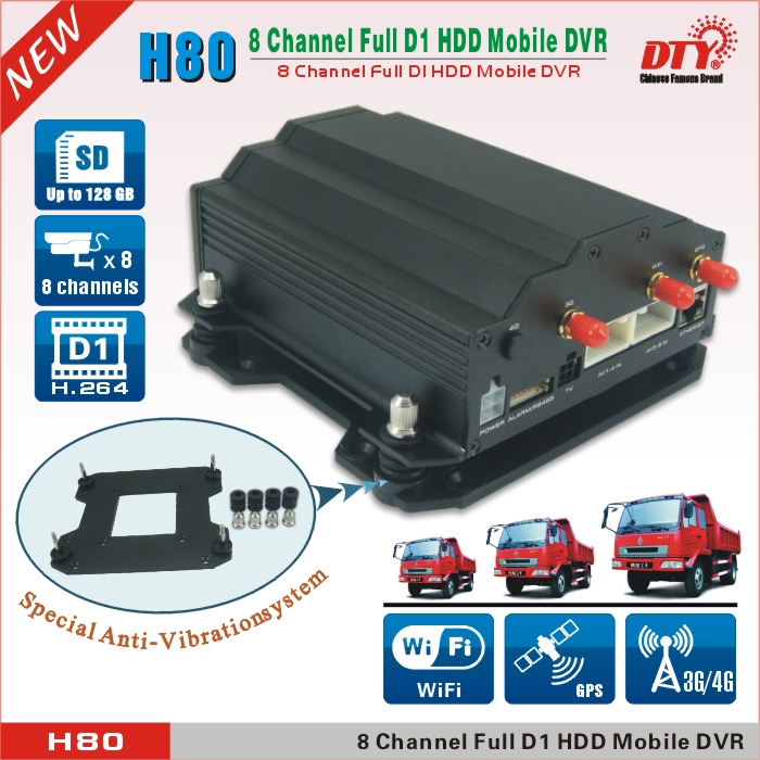 12V/24V truck bus car used 8CH h.264 GPS wifi 3g dvr with sim card,H80-3GW(China (Mainland))