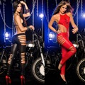 Women Sexy Night Club PU Leather Babydoll Female Night Club Erotic Lingerie Backless Halter Jumpsuit Open