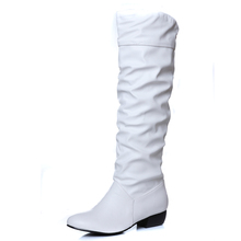 2016 Sexy Winter Over The Knee Botas Mujer Med Heels Women's Shoes Pleated Sapatos Mulher Solid Slip On Female Shoe
