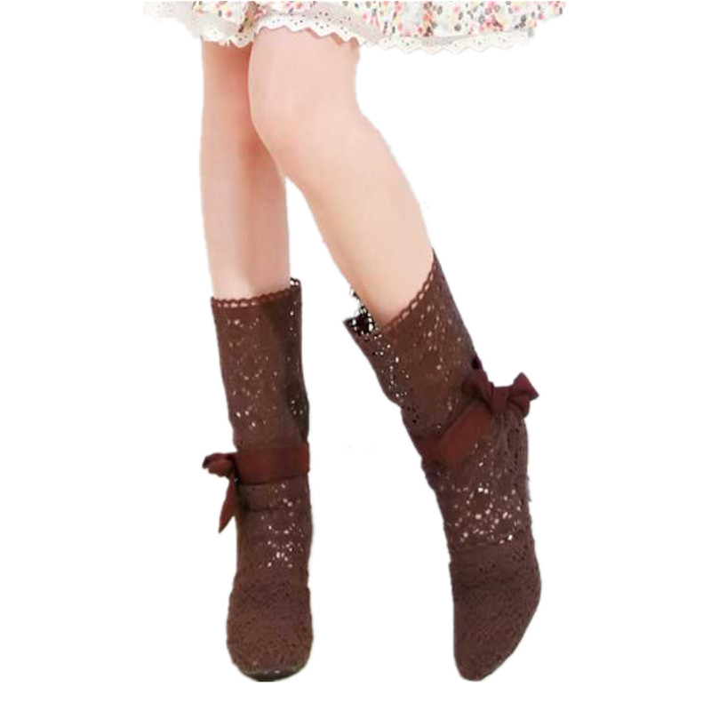 hot sale fashion gentle cut outs knitted women summer boots sweet female bowtie woman shoes(China (Mainland))