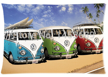 2014 New 3 VW Buses Custom Home Durable Cool Bedroom Setting Throw Pillow Cases Covers Retangle 40x60 cm Free Shipping(China (Mainland))