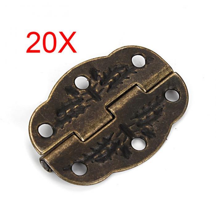 20pcs Vintage Bronze Engraved Designs Hinges Cabinet Drawer Jewelry Box Pack Furniture Hinges