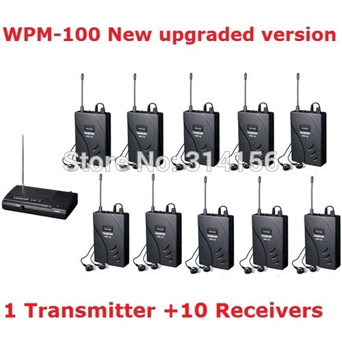 New version Takstar wpm-100 UHF Stage Wireless Monitor System In-Ear earphone Wireless Stereo 1 Transmitter +10 Receivers(China (Mainland))