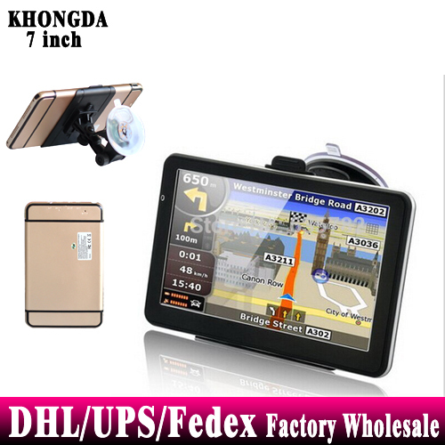 Free DHL Fedex 20 pieces 7 inch GPS Navigation Can Add Bluetooth AV-IN 4G Free World Map(China (Mainland))