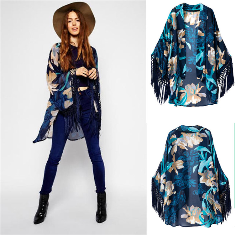 new summer euramerican style restoring ancient ways printed chiffon unlined upper garment large size chiffon cardigan(China (Mainland))