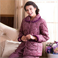 New 2016 Winter More Female Middle aged Mother Warm Cotton Pajamas Household Take Three Layers Coral