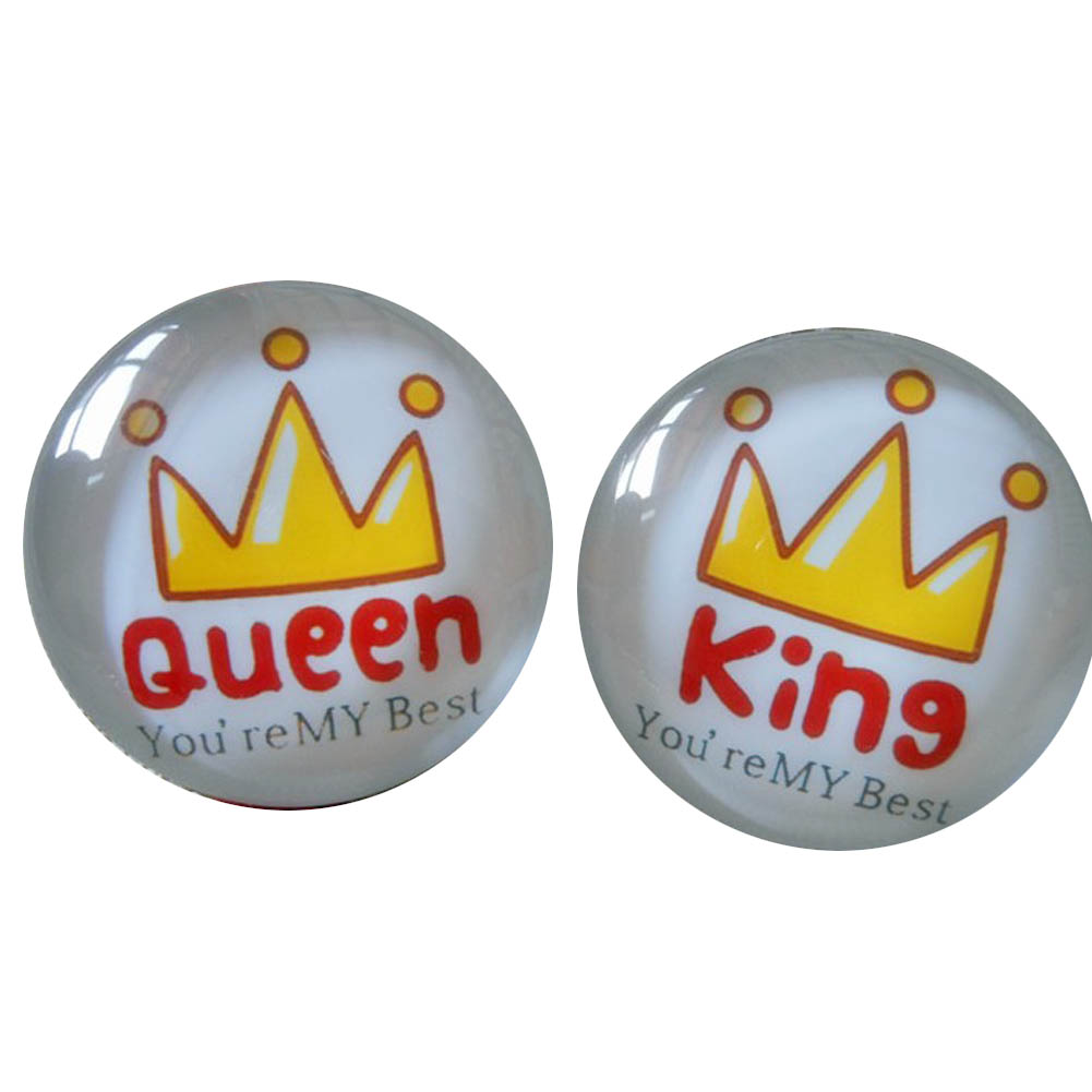 High Quality 2pcs/set Glass Cute King &queen Brooch Pin,crystal Glass Hats And Bags Accessories Brooch Badge(China (Mainland))