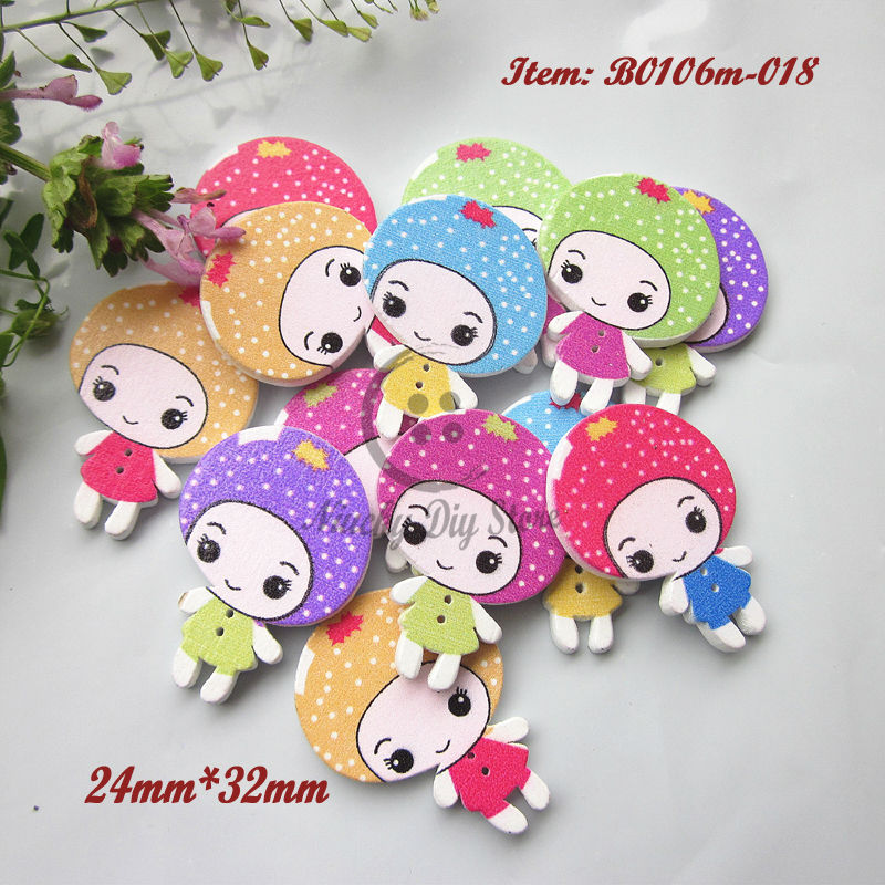 Scrapbooking accessories 144pcs mixed strawberry girl cartoon buttons scrapbooking craft decorative accessories wholesale(China (Mainland))