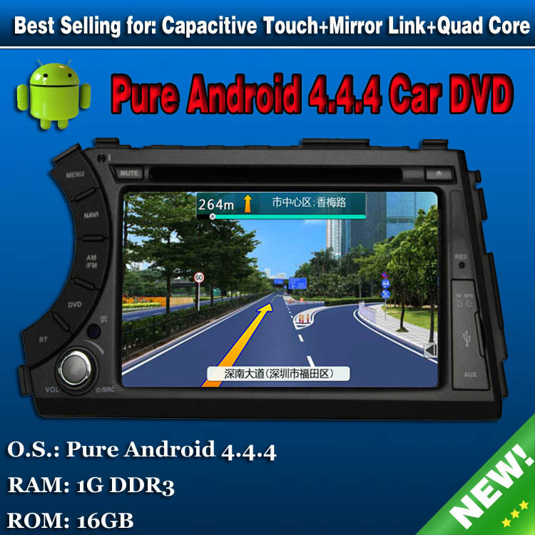 """Pure android 4.4 QUAD CORE 1.6g car dvd player for ssangyong kyron actyon 7"""" capacitive touchscreen gps radio with WIFI Map(China (Mainland))"""