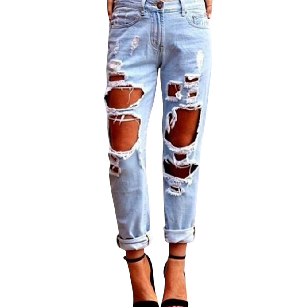 women 39 s sexy destroyed ripped distressed denim harem pants boyfriend jeans free shipping in. Black Bedroom Furniture Sets. Home Design Ideas