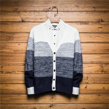 High Quality New 2015 Autumn Style  Striped Cashmere Wool Men cardigan Sweater Brand Casual Shirt V-Neck Clothing(China (Mainland))
