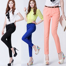 Office Lady Candy Color Pencil Pants Elegant Women OL Chic Harem Pant Trouser(China (Mainland))