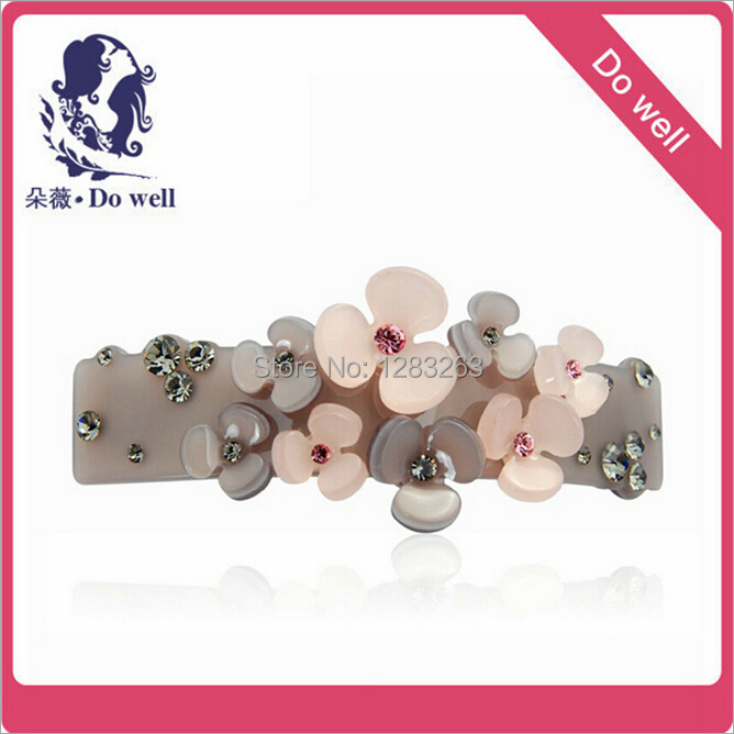 New Fashion DOWELL Elegant Crystal Flower Hairpins Hair Clips Women Girls Barrette Cellulose Acetate Sheet (not Acrylic)(China (Mainland))