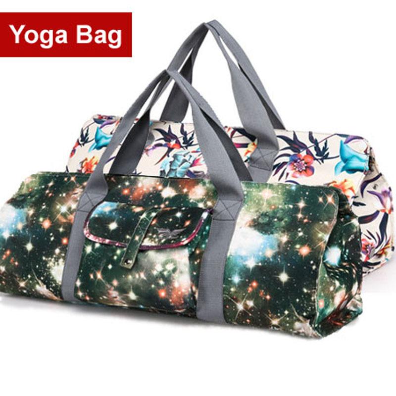 Waterproof Backpack Yoga Bag Galaxy Flower Fashion Canvas Women's Multifunctional Gym Bags Yoga Backpack Yoga Mat Bag 5 Colors(China (Mainland))