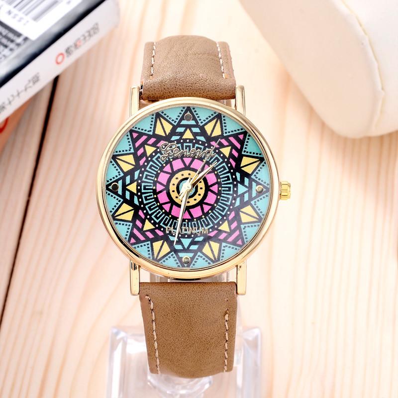 stylish optimum Clock Brand Geneva Watch Women Popular Quartz Watch Wheat jigsaw Leather Watch Relogio Feminino Graffiti Watch(China (Mainland))