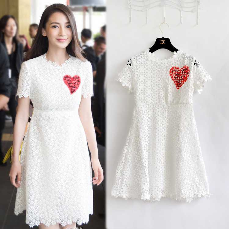 Yang Ying Top Quality European Shiner Film Festival love lace dress 1435386979(China (Mainland))