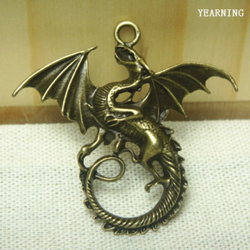 Yearning Jewelry Accessories Retro Style Zinc Alloy Antique Bronze Winged Dragon pendants Charms46*43MM 10pcs/lot