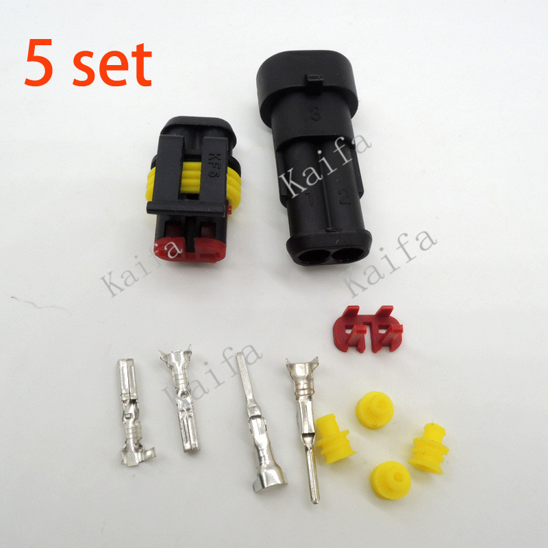 5 sets Kit 2 Pin Way Super seal Waterproof Electrical Wire Connector Plug car - Kaifa Co., Ltd. store