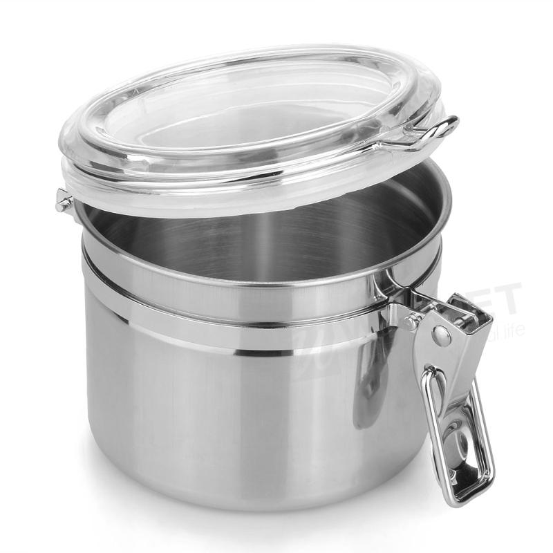 Home Kitchen Stainless Steel Airtight Sealed Canister Dry Food Container(China (Mainland))