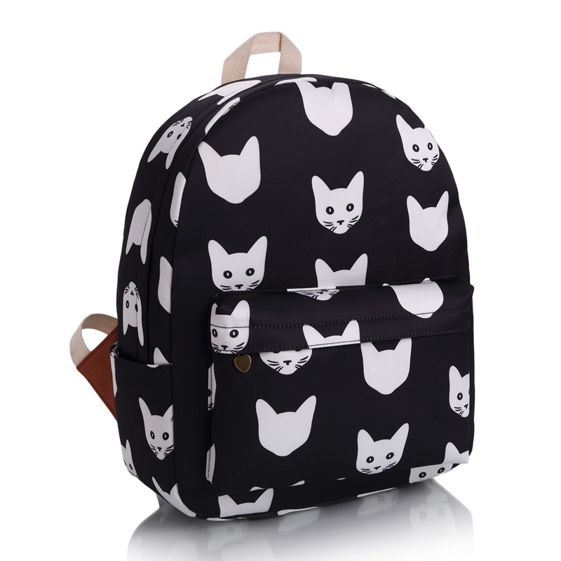 2 ColorsFashion Leisure Canvas Knapsack Cute Black And White Cat Backpack Guaranteed Quality Japan and Korean