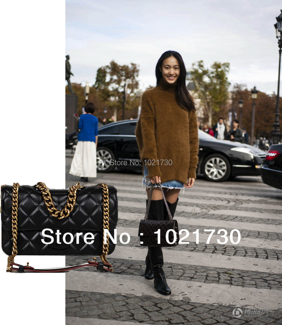 bags women 2013 genuine leather bags for women black chains plaid small sheepskin double flaps ladies handbag free shipping<br><br>Aliexpress