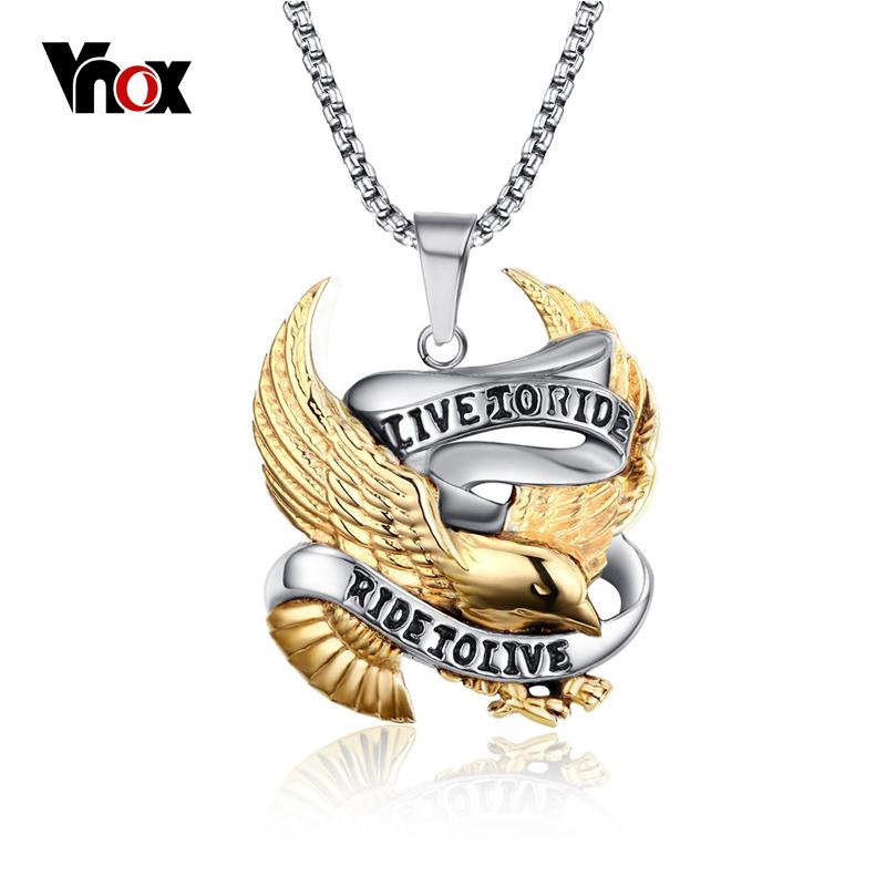 Vnox Eagle Necklaces & Pendants LIVE TO RIDE For Men Mens Titanium Steel Chain(China (Mainland))