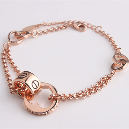 Wholesale Rose Gold Plated Connect Bracelet &Bangle with Clear Stone Free Shipping(tsl-282b)(China (Mainland))