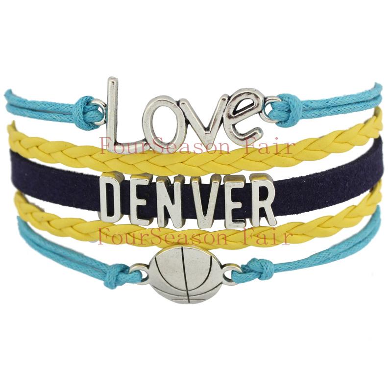 Customizable-Infinity Love DENVER basketball Team Fans Bracelet Navy Blue Yellow Wristband friendship Bracelets-Drop Shipping(China (Mainland))