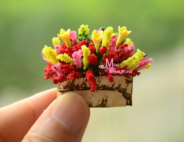 Garden Rich flower Clay Plant W/ Wood Vase Dollhouse Miniature OP11()