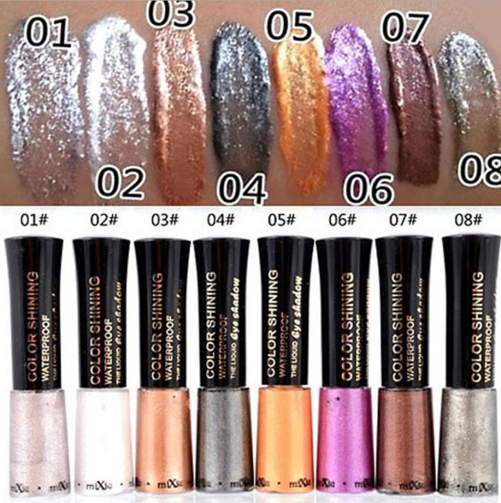 MIXIU Brand 1PC Waterproof Glitter eyeshadow Diamond Pearl Colorful Mineral liquid Eye shadow Eye Liner Makeup Multicolor 8g(China (Mainland))