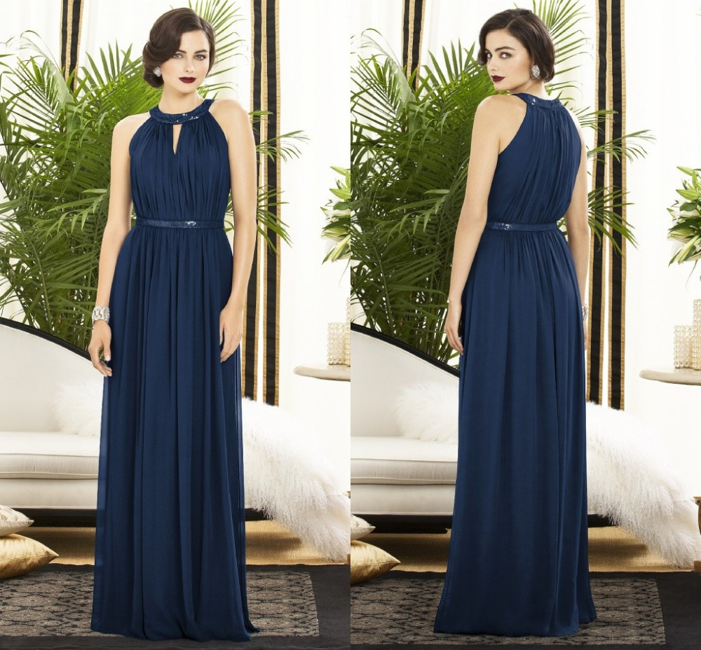 Simple fashion halter a line chiffon navy blue bridesmaid for Navy dresses for weddings