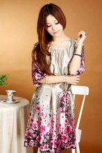 New Sexy Print Half Sleeve Robe Autumn Winter Faux Silk Bathrobe For Women(China (Mainland))
