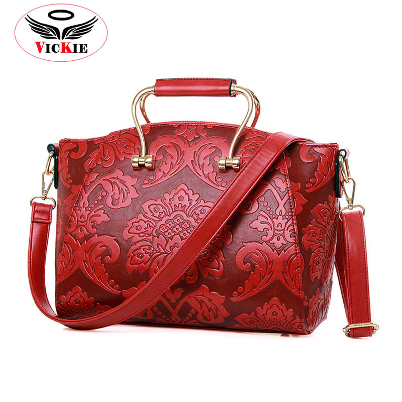 2016 Hot Women Handbags Smiley Bags Flower Prints Woman Shoulder Bag Brand Embossed Lady Tote National Style Female Bag T81<br><br>Aliexpress