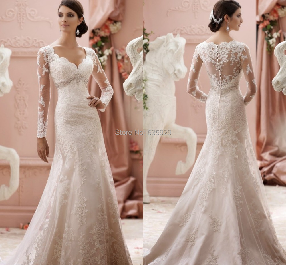 Vestido de noiva 2015 new elegant lace appliqued long for Elegant wedding dresses with long sleeves