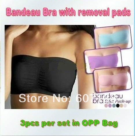 Hot Sale! STRAPLESS Bandeau with Removable Padding Bra 30pcs/lot IN OPP Bag(China (Mainland))